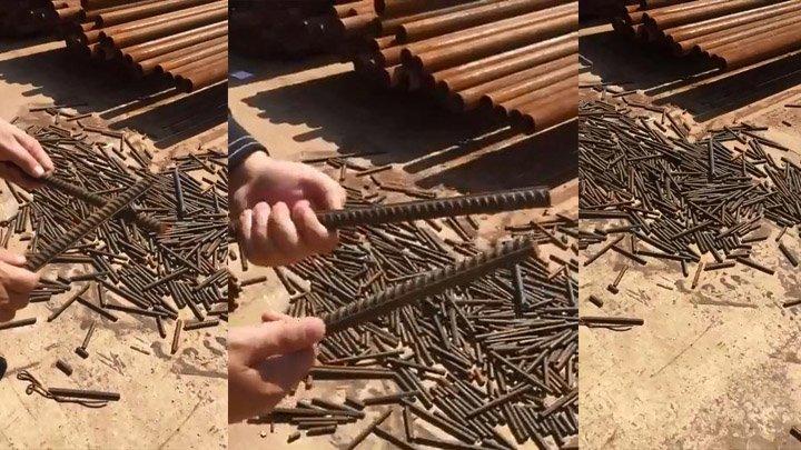 Хрупкая арматура на стройке арматура, видео, железо, металл, прикол, строительство, стройматериалы, юмор
