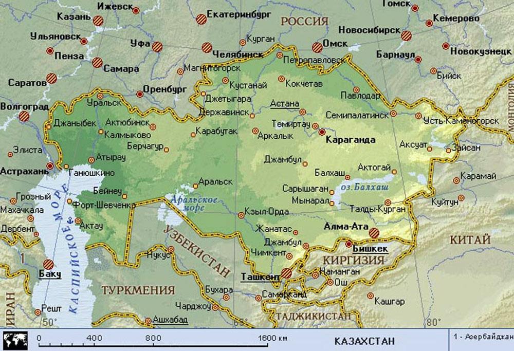 Оренбург до границы казахстана сколько километров