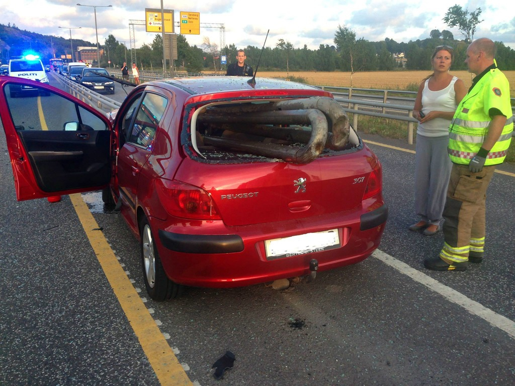 Male (84) impaled  car on the crash barrier Norway, car crash