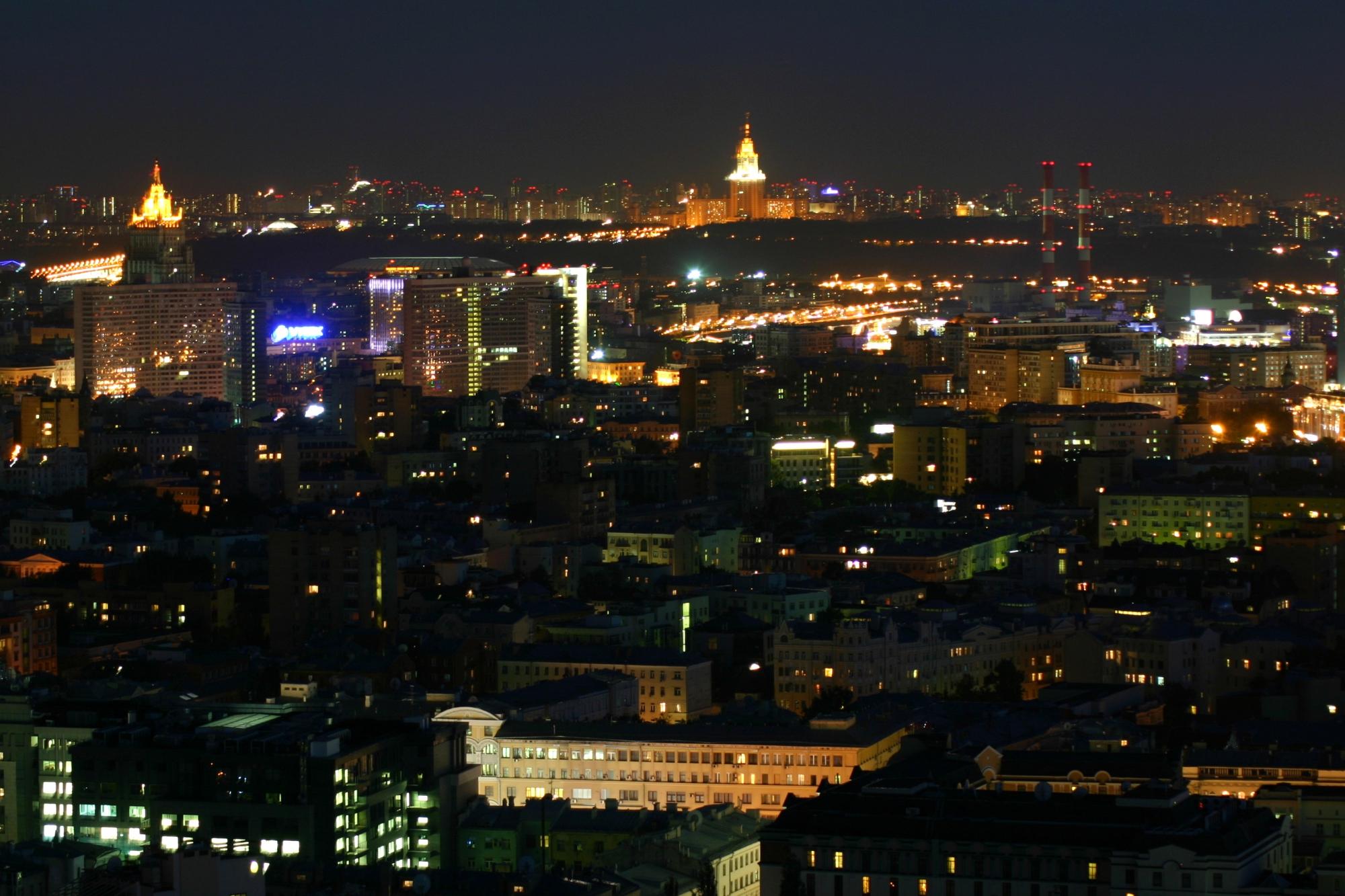 Ночная москва с высотки фото картинка