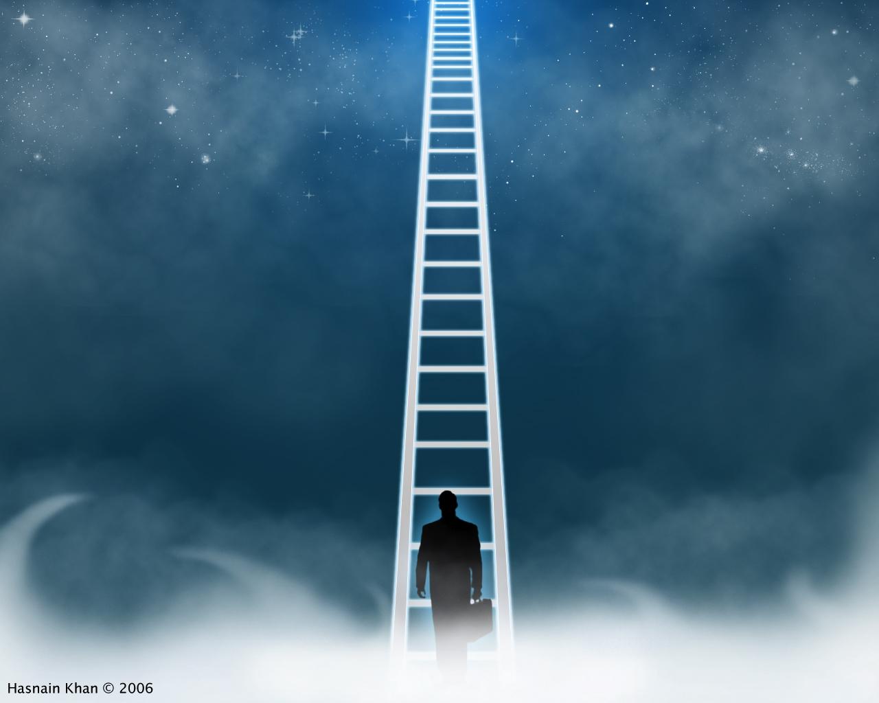Силуэт на лестнице в небо фото