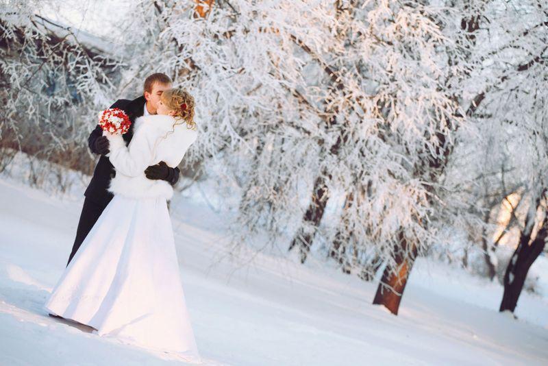 Свадьба зимой невеста фото