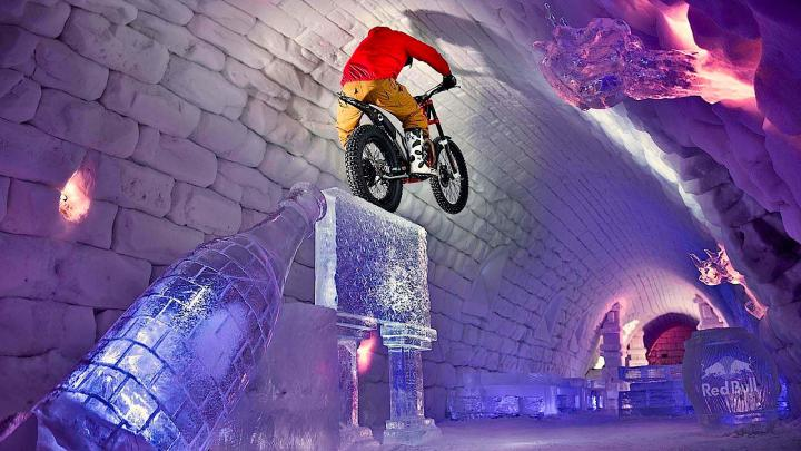 Moto Trials Riding Through Giant Igloo - Tundra Trial