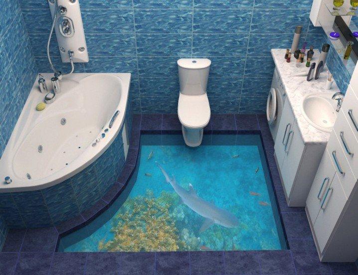 Наливной прозрачный пол в ванной наливные полы в каридоре фото