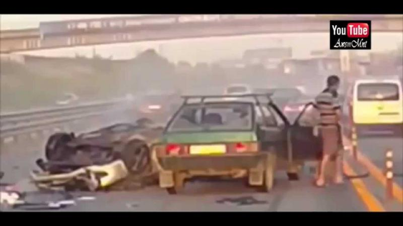 Worst Car Accident Ever Recorded Woman Thrown 20 meters in the air! WOW!