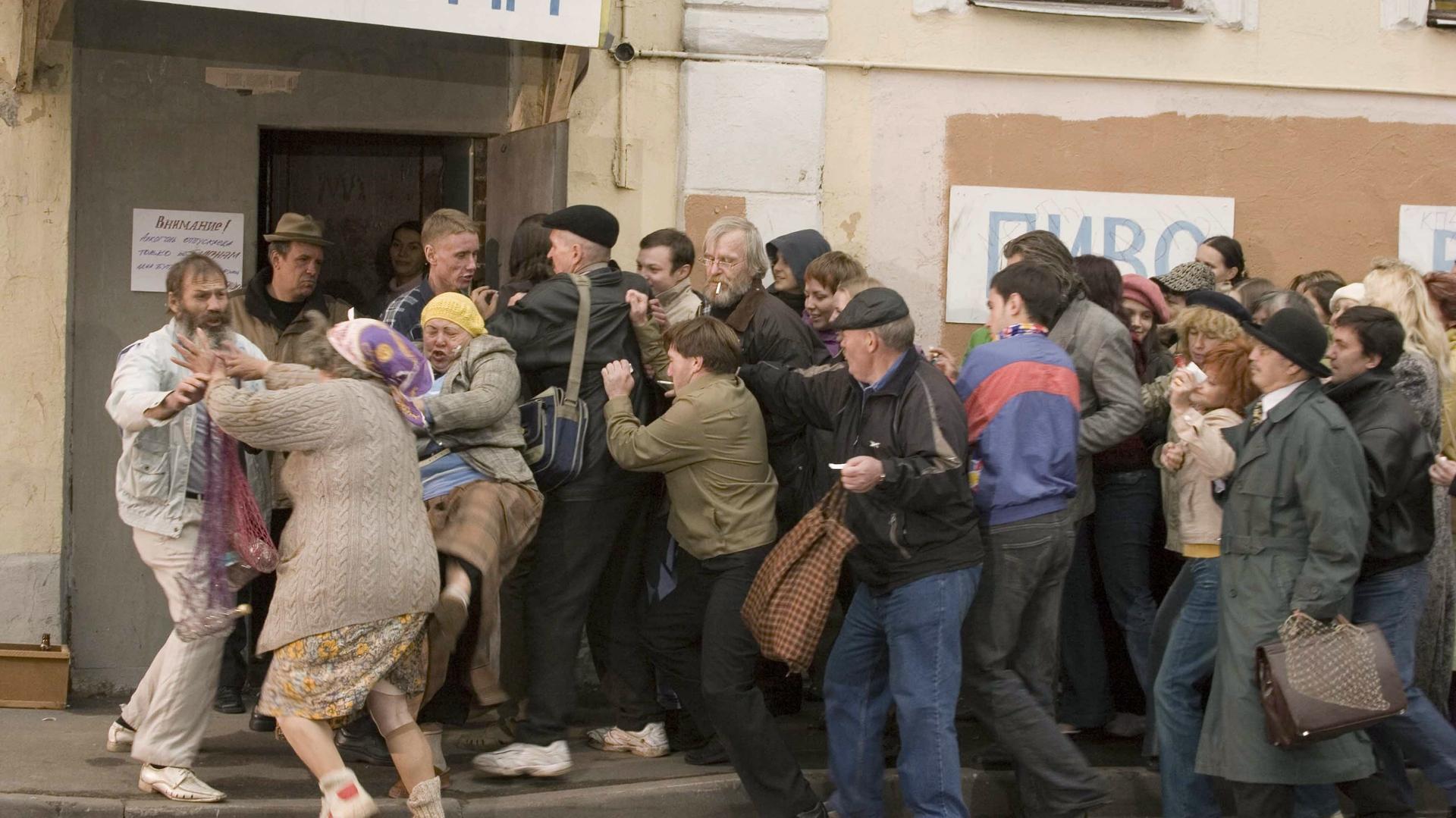 Очереди в магазин за спиртными напитками в 80-е годы