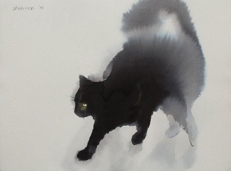Акварельные коты акварель, картина, кот