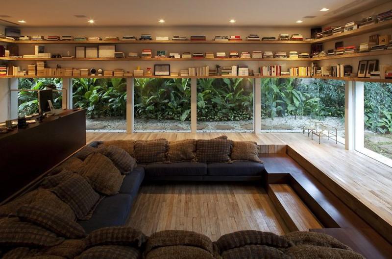 1. Домашняя библиотека — читальный зал со стеклянными стенами. дизайн, дом, идея, креатив