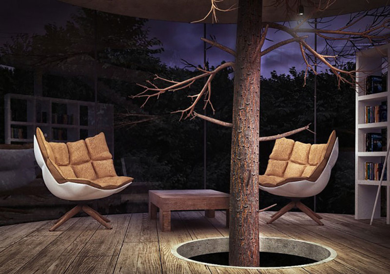 28. Стеклянный дом вокруг дерева  дизайн, дом, идея, креатив