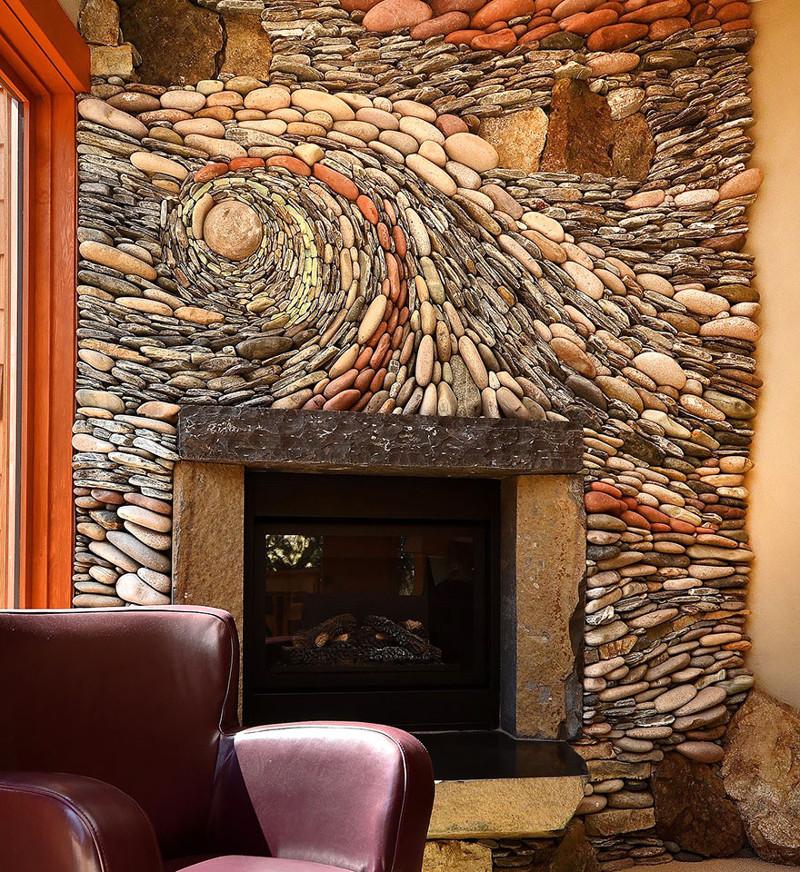 12. Стена над камином, оформленная натуральными камнями. дизайн, дом, идея, креатив