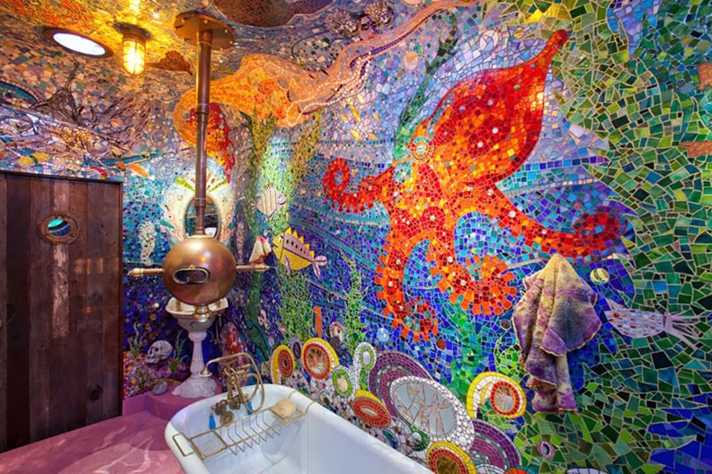 "29. Ванная комната по мотивам ""Желтой подводной лодки"" Битлз дизайн, дом, идея, креатив"