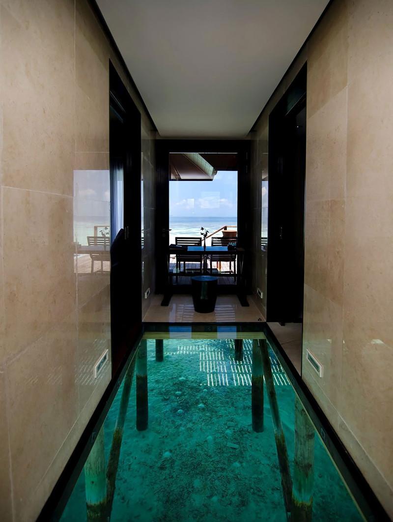 2. Стеклянный пол над водой, сквозь который видно морское дно. дизайн, дом, идея, креатив