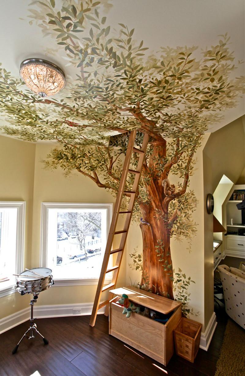 4. Детская игровая комната с большим деревом, у которого есть секрет — ход на чердак. дизайн, дом, идея, креатив