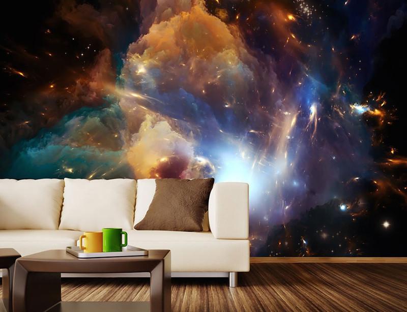 16. Космический пейзаж на стене. дизайн, дом, идея, креатив