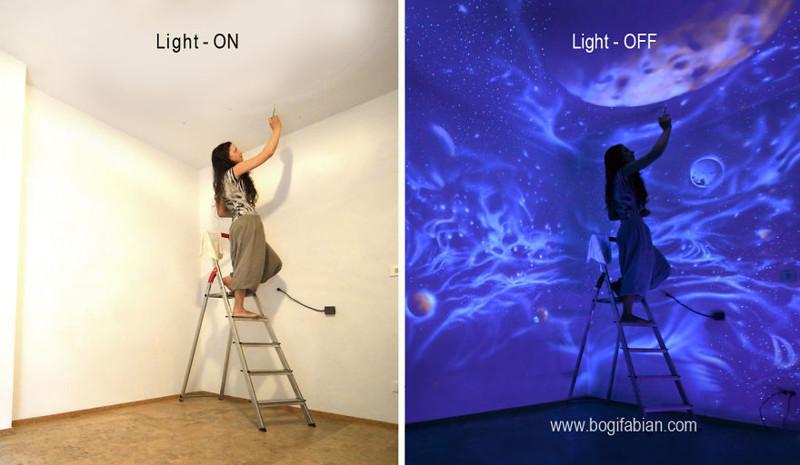 10. Роспись стен люминисцентными светящимися красками. дизайн, дом, идея, креатив
