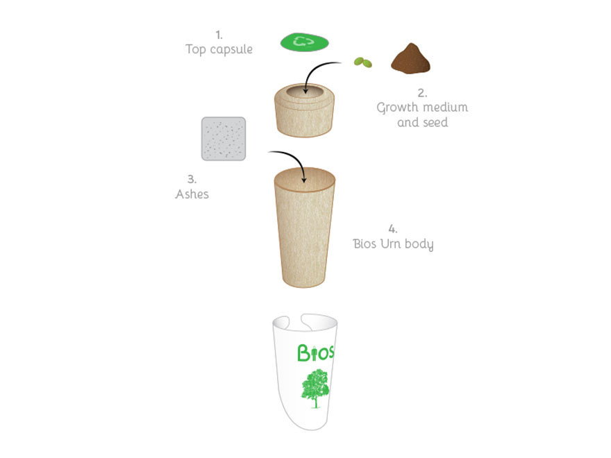Компоненты и схема урны биоурна, дерево
