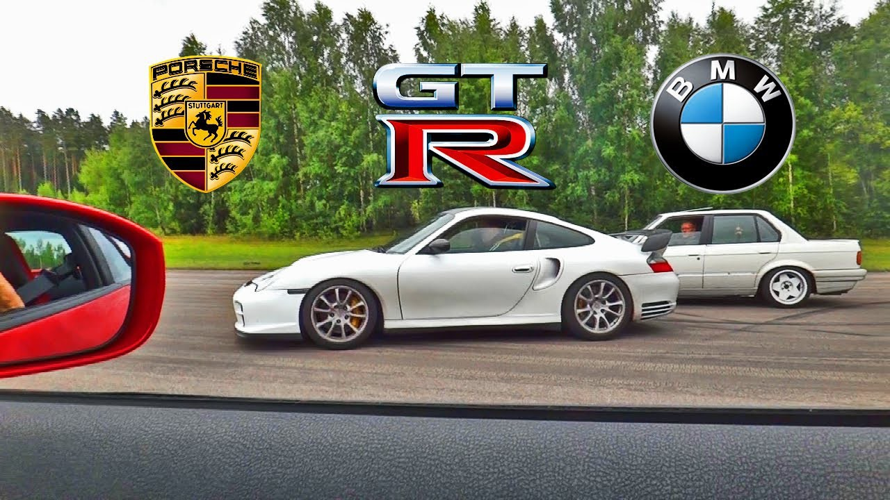 BMW E30 VS Nissan GT R 35 VS Porsche 911 Turbo  авто, видео