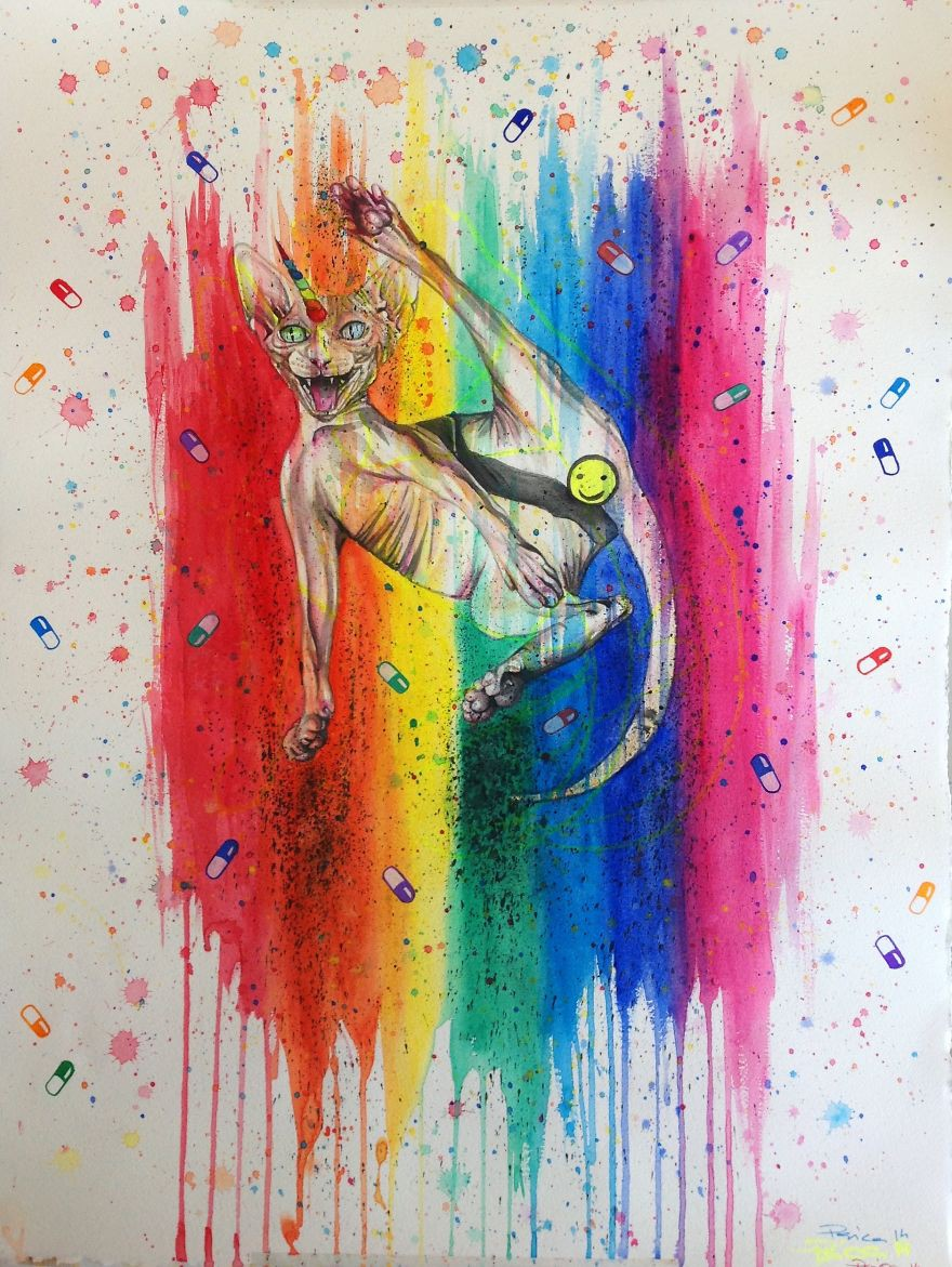 Прикольные необычные рисунки красками