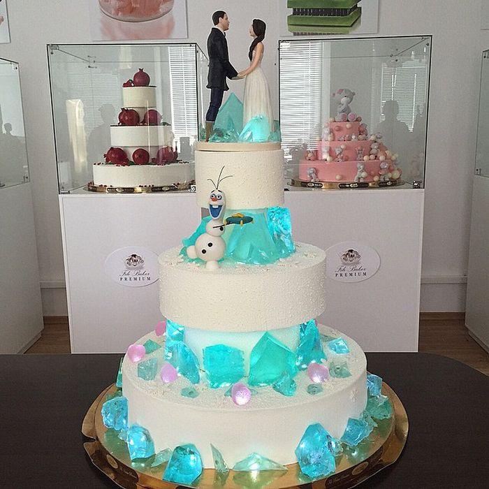 Вот такой необычный свадебный торт со светящейся карамелью! еда, торт