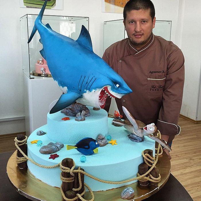"""Торт с персонажами из мультфильма """"NEMO"""" еда, торт"""