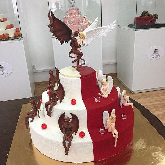 """Торт в стиле """"Ангелы и Демоны"""" еда, торт"""