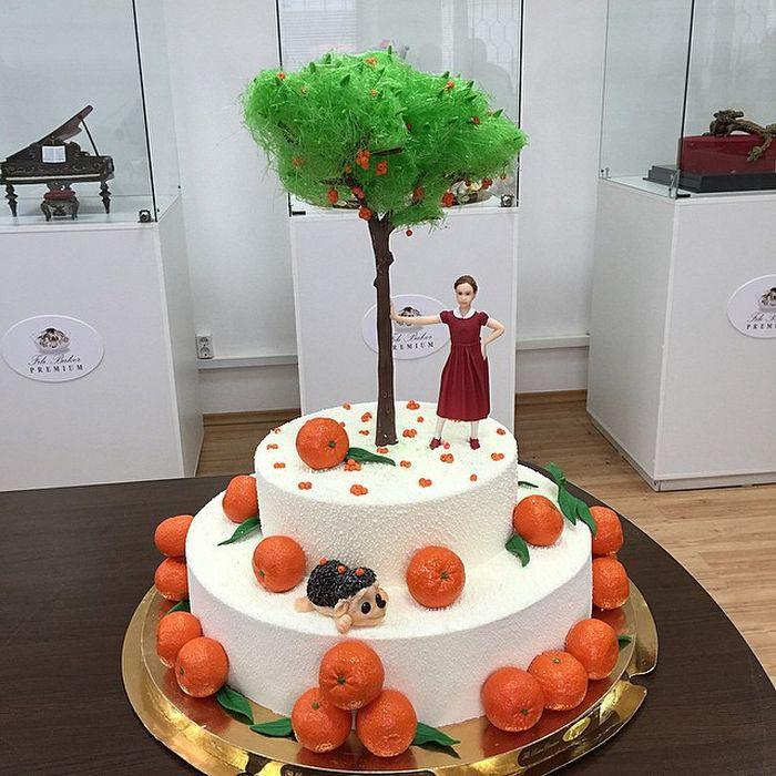 Торт с мандариновым карамельным деревом и шоколадными мандаринками еда, торт