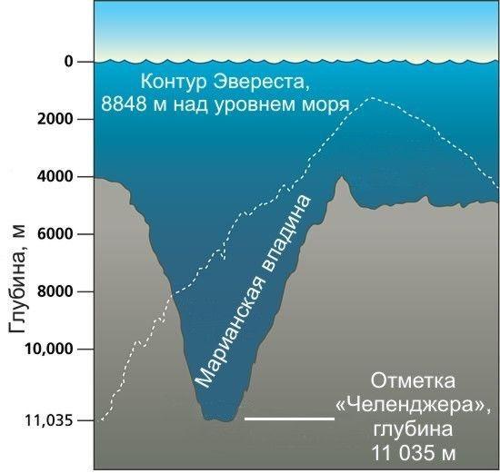 """9. Самое глубокое место на Земле - """"Бездна Челленджера"""", ее глубина - 10994 ± 40 м ниже уровня моря интересное, факт"""