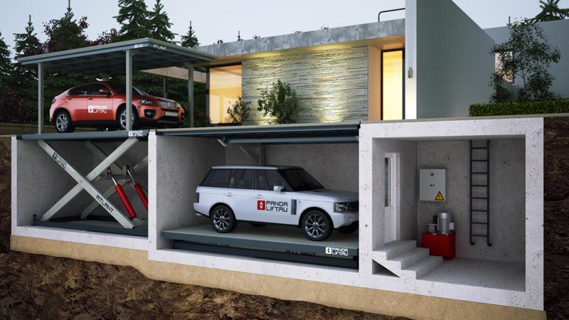 Подземный гараж с автомобильным лифтом
