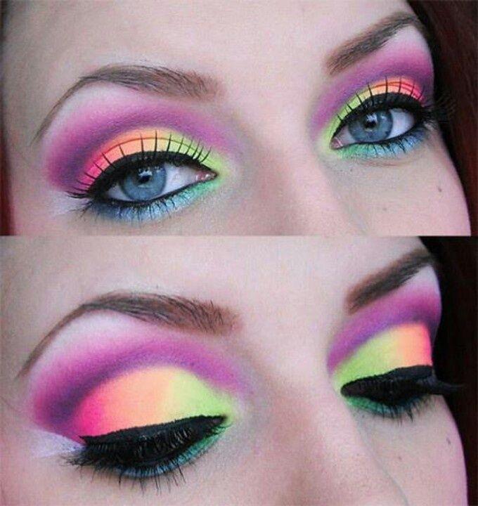 3. Радуга на глазах девушки, макияж