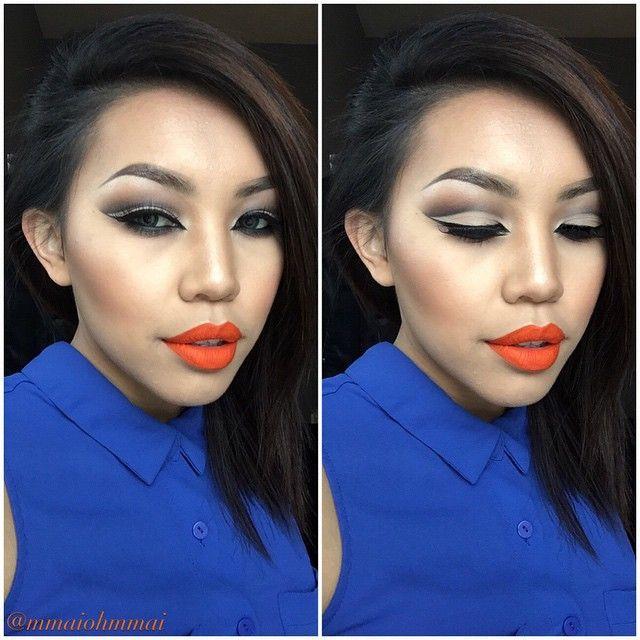 7. Ярко-оранжевая помада заставит вашу кожу сиять девушки, макияж