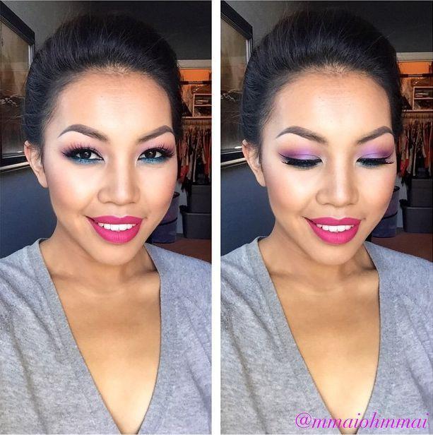 18. Отличная идея наносить на нижнее и верхнее веко тени разных цветов девушки, макияж