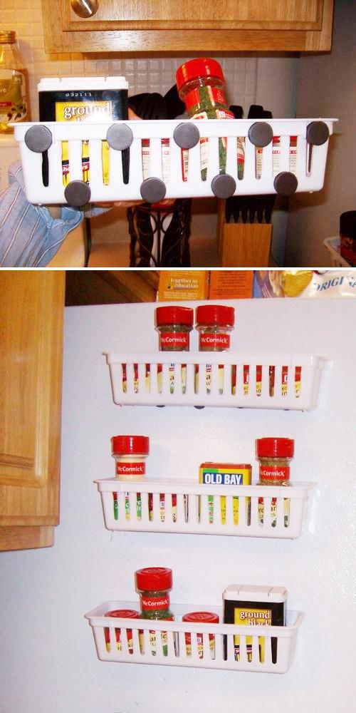 15. Прикрепите дополнительные полочки к холодильнику с помощью магнитов кухня, обустройство