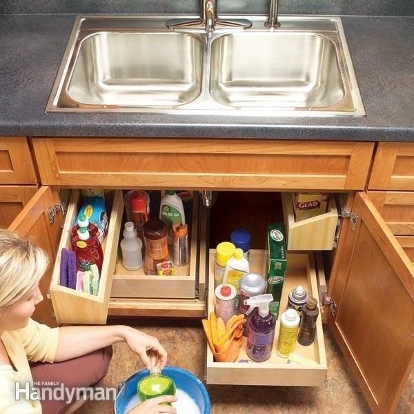 6. Можно установить даже выдвижные ящики кухня, обустройство