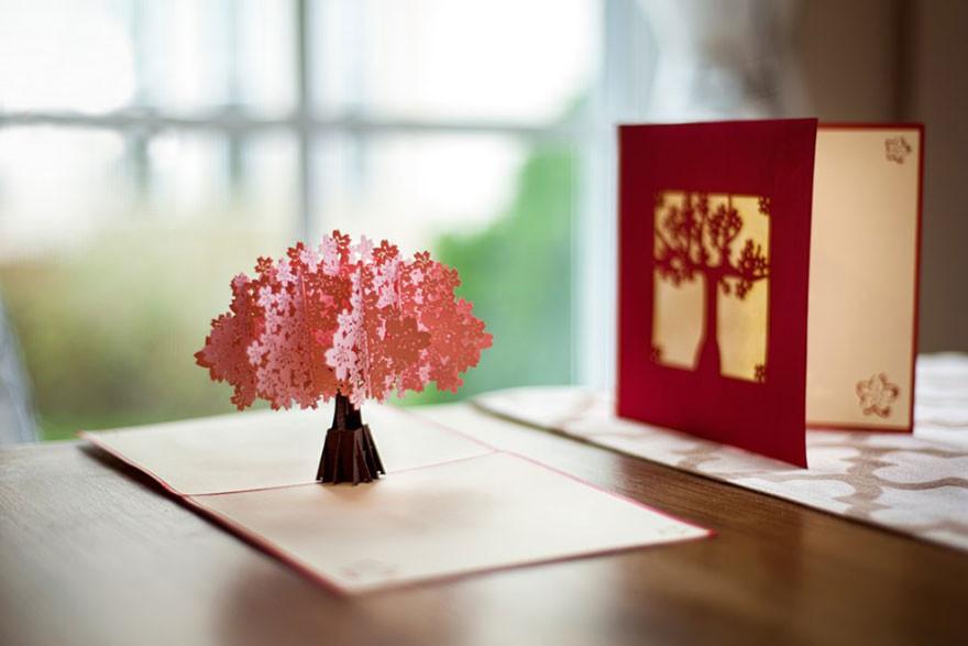Лес, объемные открытки с деревом