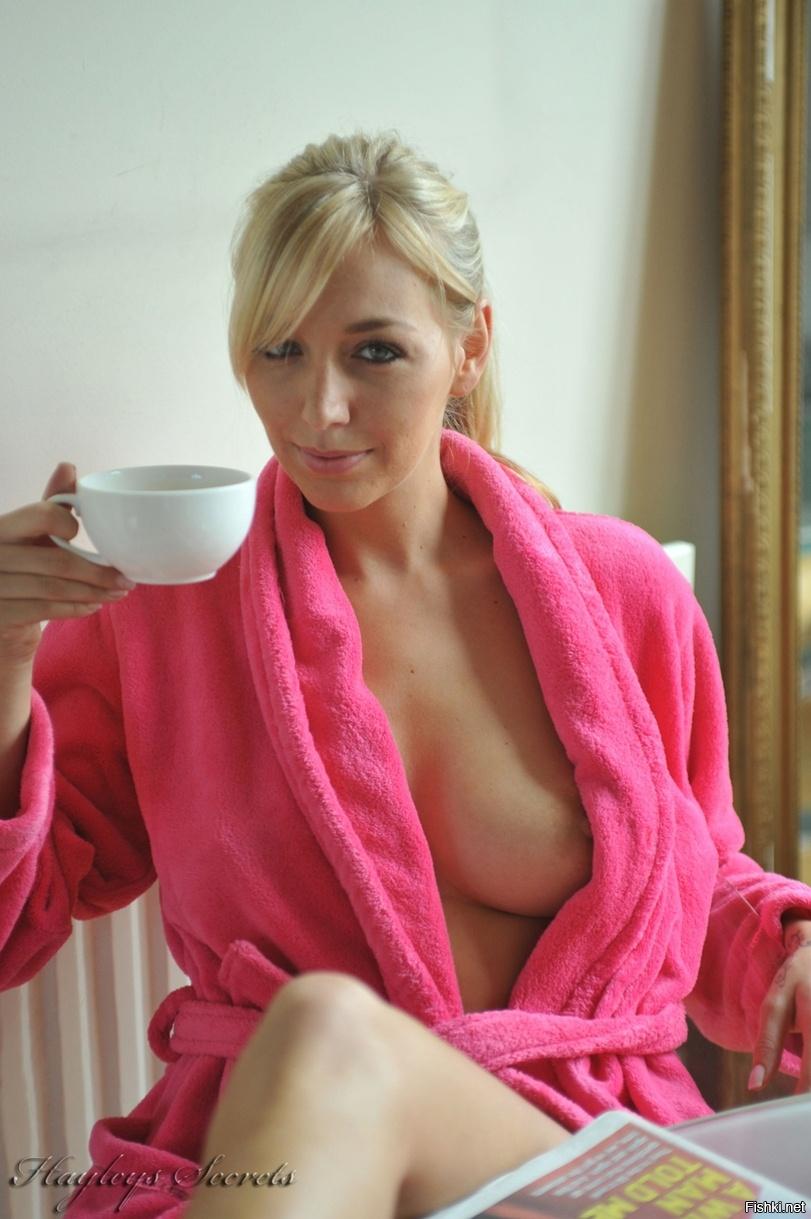 Nude mom in bathrobe