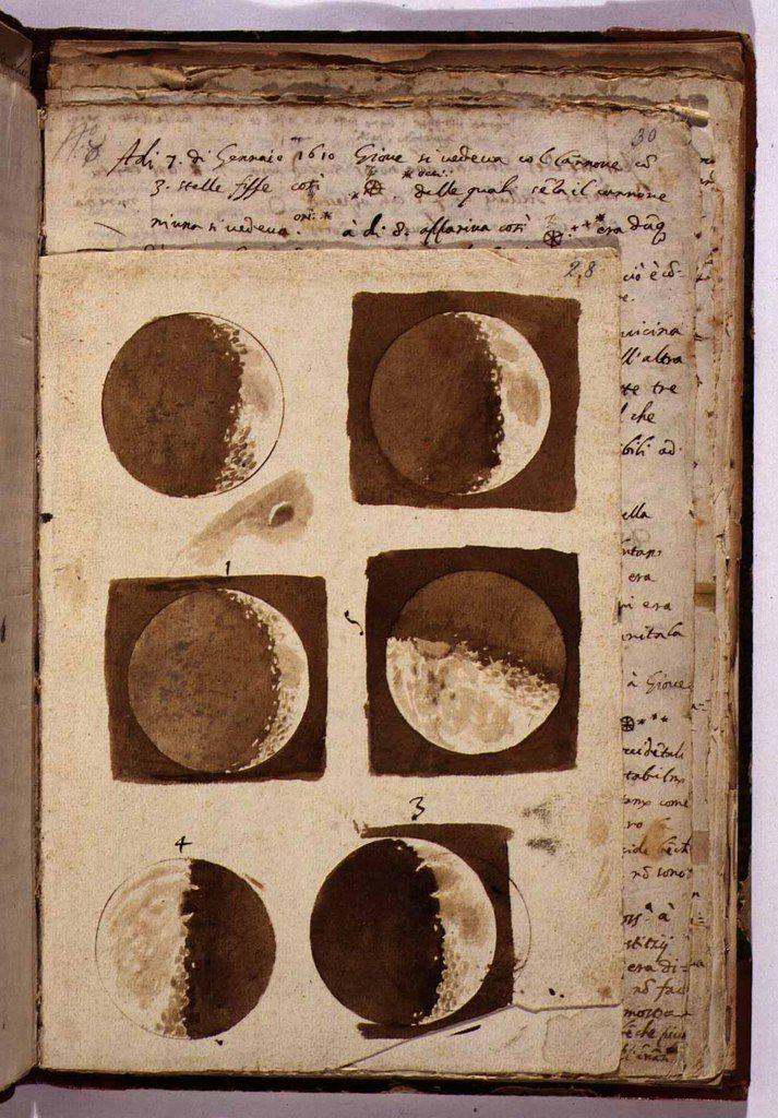 Зарисовки луны, сделанные Галилеем. Национальная центральная библиотека, Флоренция, 1609 г знаменитости, история, редкие кадры, фото