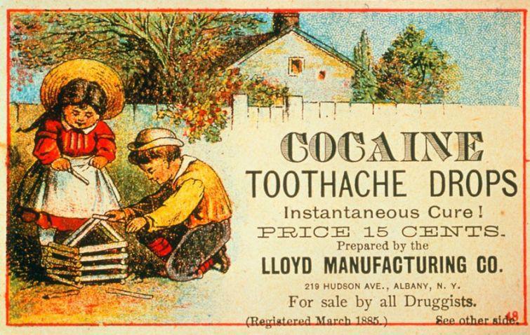 Реклама детских кокаиновых капель от зубной боли. Мгновенный эффект и всего за 15 центов. На рынке с 1885 года знаменитости, история, редкие кадры, фото