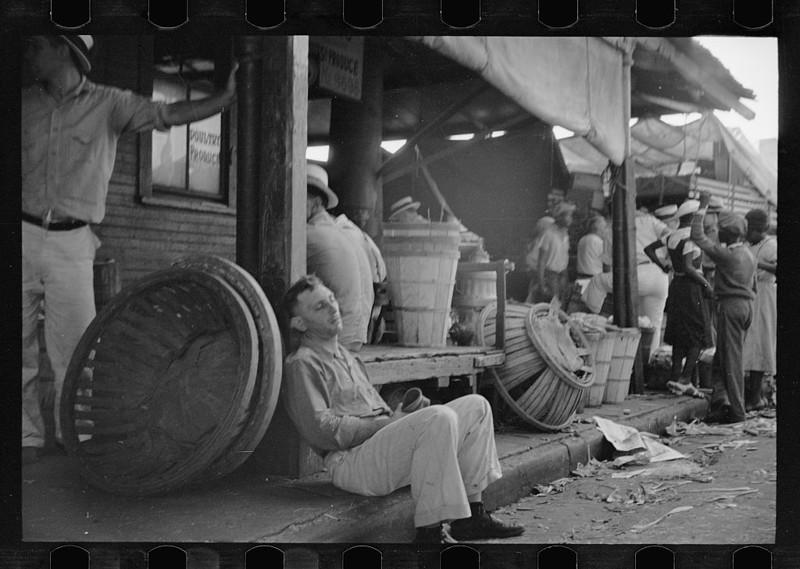 7. Торговая площадь в Новом Орлеане, штат Луизиана. Июнь 1936. америка, великая депрессия, кризис