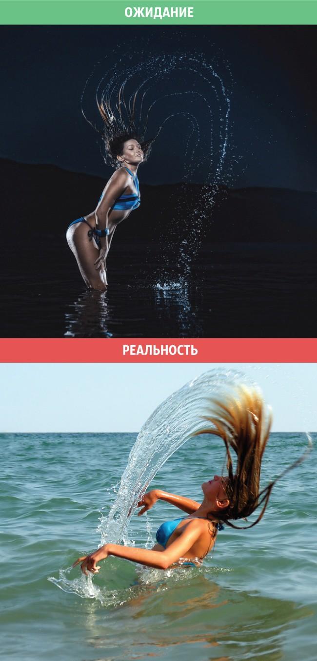 2. Фотосессия с брызгами женщины, ожидание и реальность, юмор