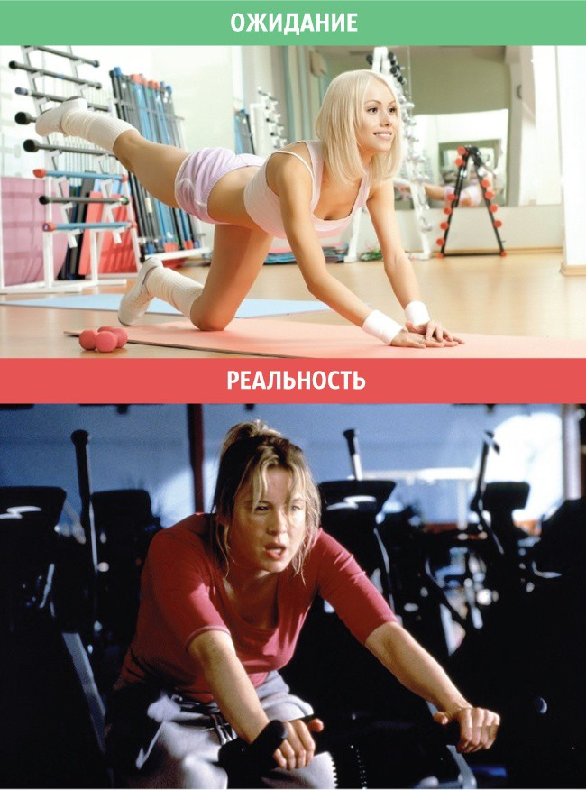 7. Занятия в спортзале женщины, ожидание и реальность, юмор