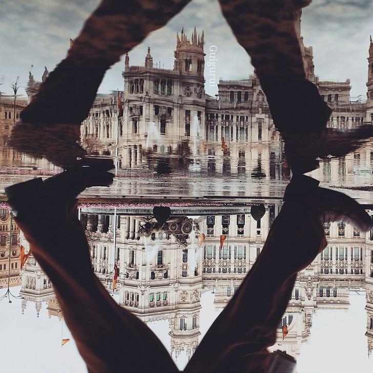 6. Кадр, сделанный во время авиашоу на военной базе в Мадриде лужа, отражение, фото