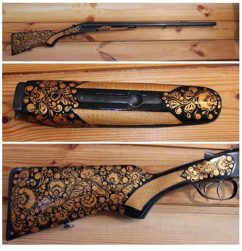 Роспись огнестрельного оружия под царскую хохлому искусство, оружие