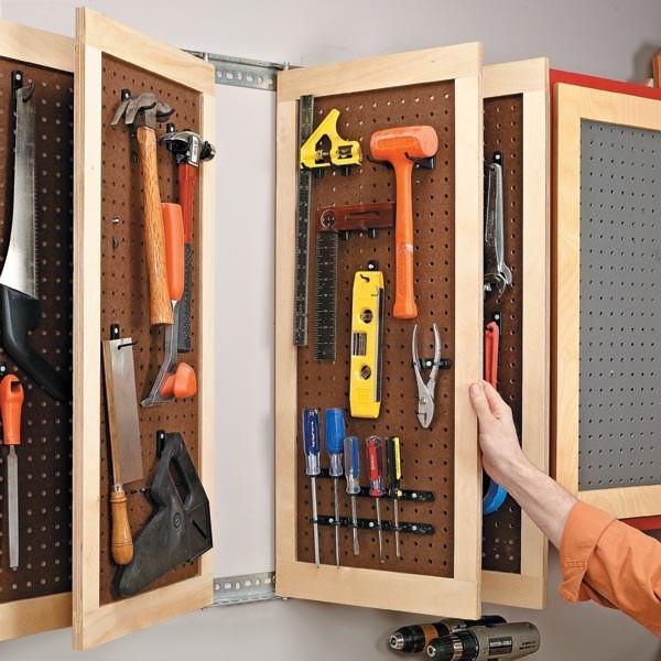 40. Хранение инструментов на перфорированных плитах кухня, хранения