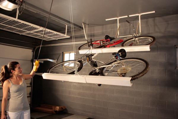 Гараж: 35. Храните велосипеды горизонтально потолку кухня, хранения