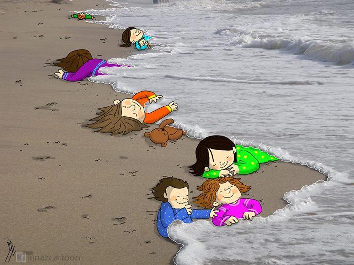 12. Художники со всего мира написали работы в память об утонувших сирийских детях Айлане и Галипе Курди беженцы, мир, помощь