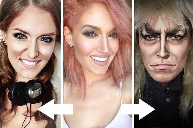 Талантливая девушка, которая может превратить себя в кого угодно при помощи макияжа Ребекка Свифт, война, девушка, макияж