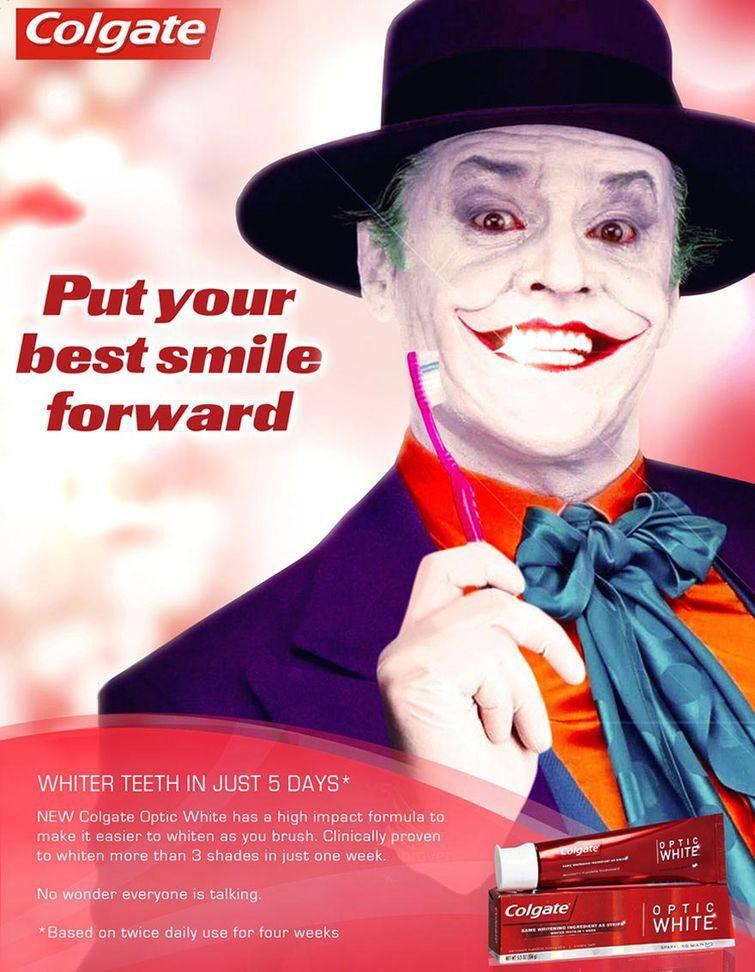 Белоснежная улыбка от Джокера злодеи, реклама