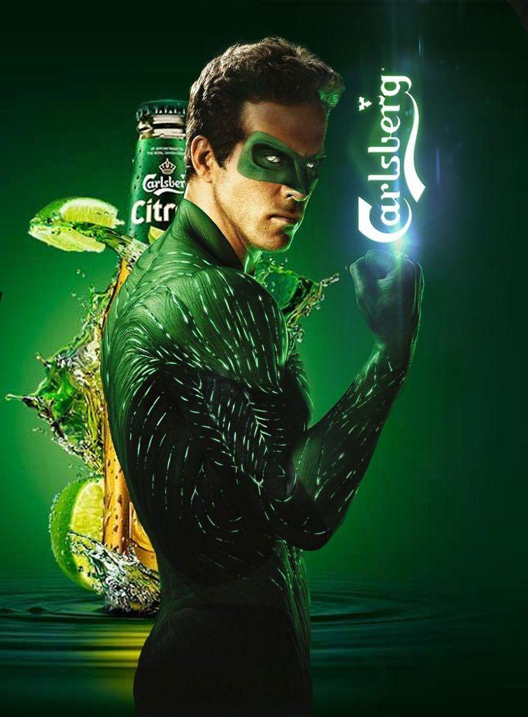 Зеленый фонарь в рекламе пива Carlsberg злодеи, реклама