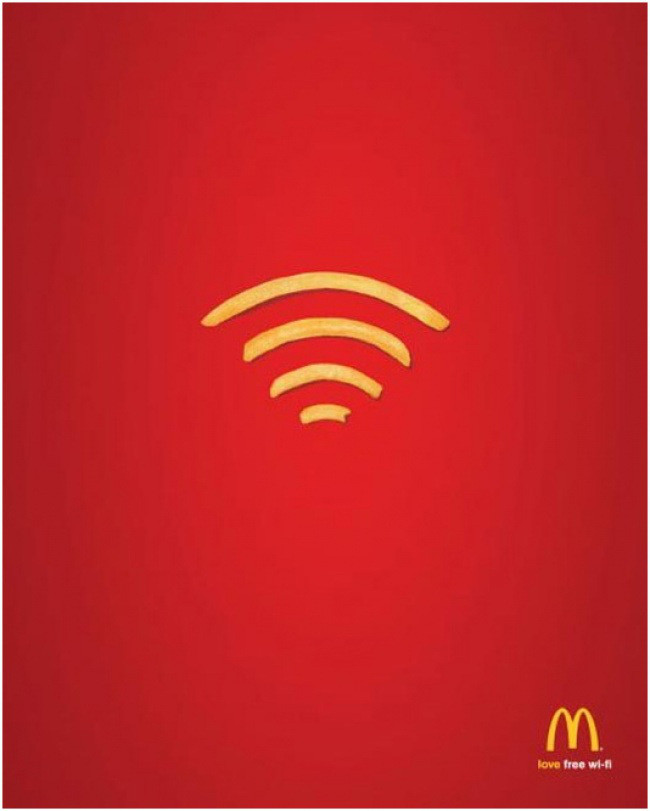 16. Бонус от McDonald's: Бесплатный Wi-Fi креатив, минимализм, реклама