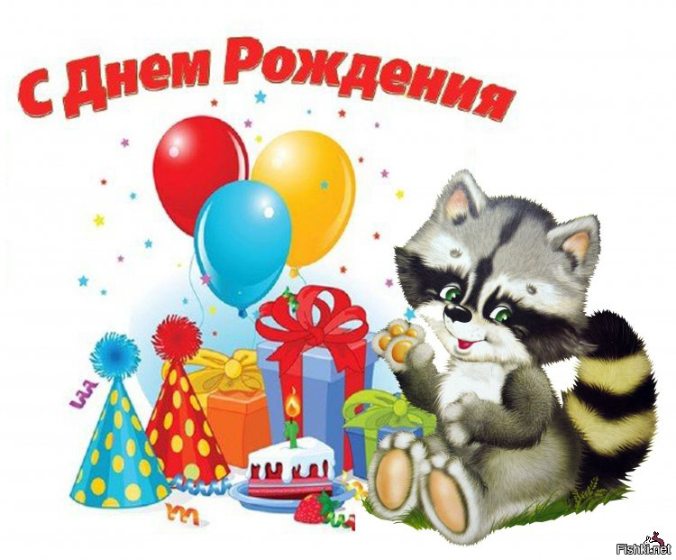 С днем рождения картинки с енотом, открытки
